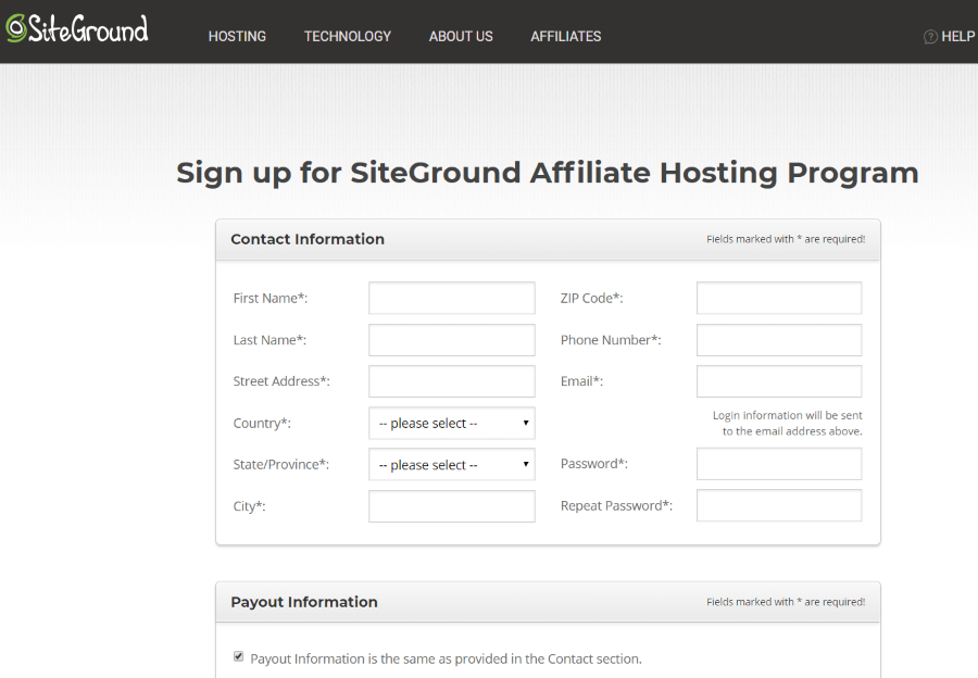 siteground affiliate sign up