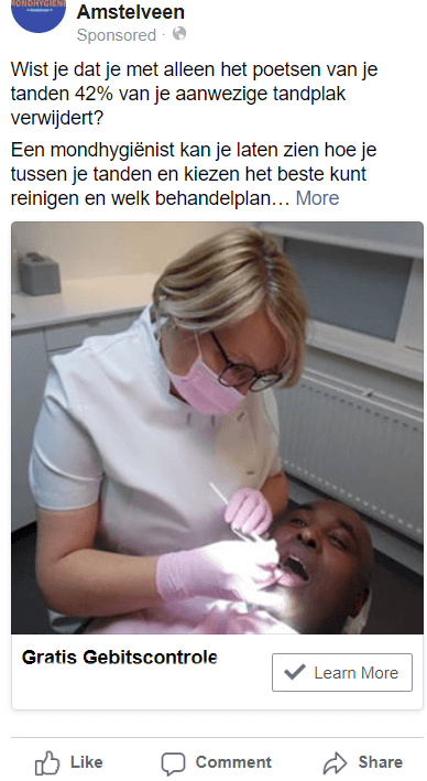 social media marketing facebook advertentie dental dentist